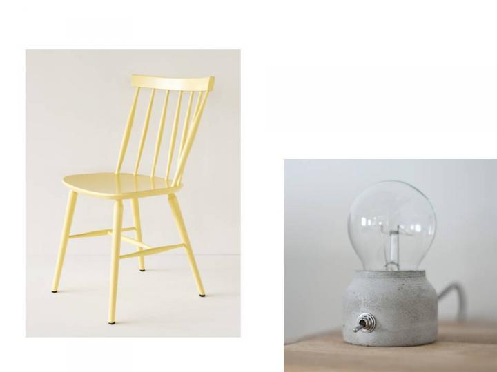 chaises scnadinaves,lampe béton,porte courrier métal